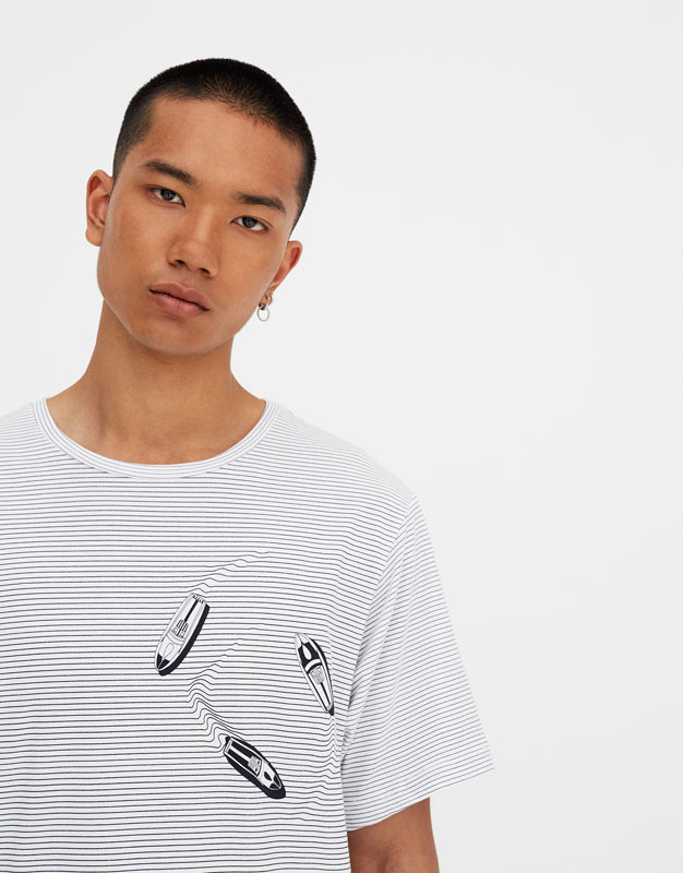 Thin Striped T Shirt With Ship And Rocket by Pull & Bear