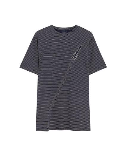 Thin-striped T-shirt with ship and rocket