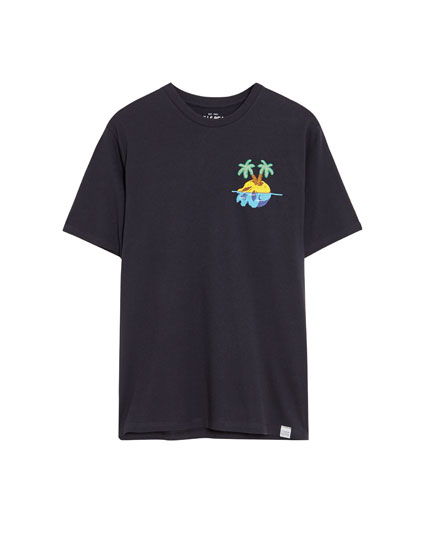 Embroidered skull island T-shirt