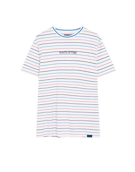 Micro-striped cotton T-shirt with embroidery