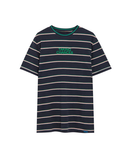 Striped piqué cotton T-shirt with embroidery