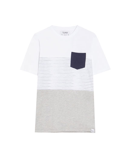 Short sleeve panelled T-shirt with a pocket