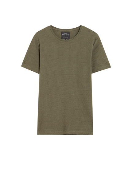 Short sleeve textured weave T-shirt