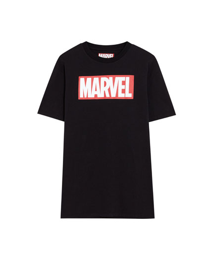 Black short sleeve Marvel logo T-shirt