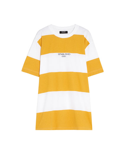 T-shirt with wide stripes and slogan