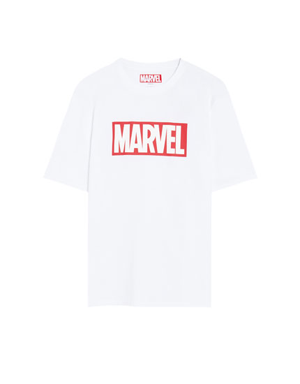White short sleeve Marvel logo T-shirt