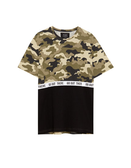 Black T-shirt with a camouflage panel and slogan taping