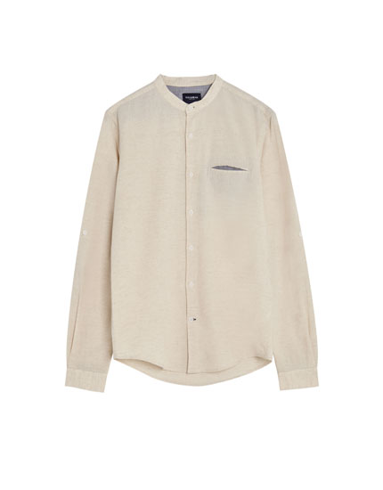 Stand-up collar shirt made with ecologically grown cotton and linen