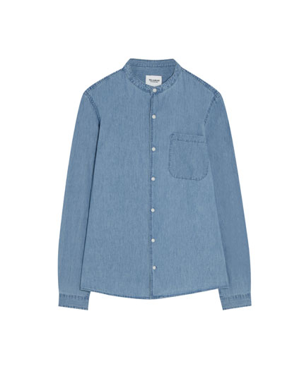 Denim shirt with a stand-up collar