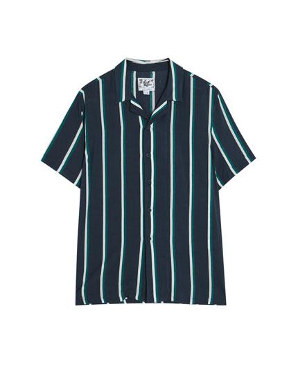 Camisa de manga corta a rayas navy