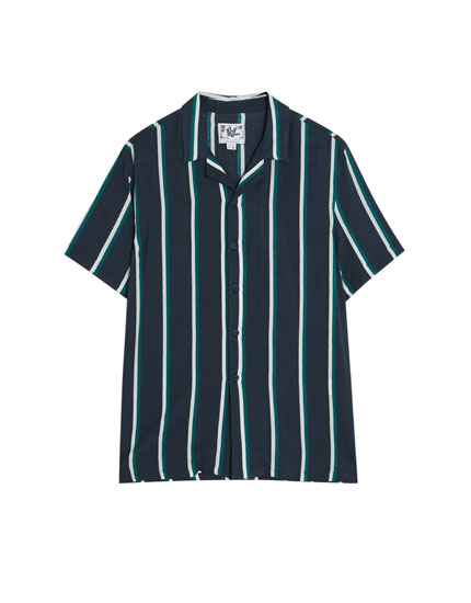 Chemise rayée navy à manches courtes