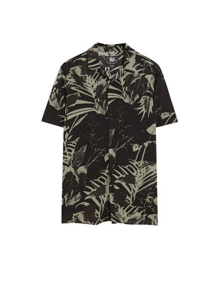 Floral short sleeve viscose shirt