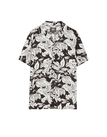 Floral short sleeve viscose shirt