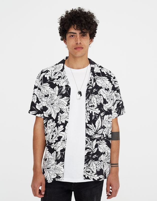 Floral Short Sleeve Viscose Shirt by Pull & Bear