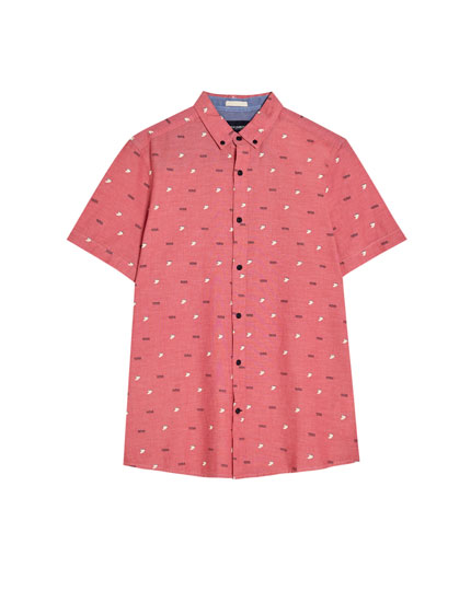 Camisa màniga curta estampat allover