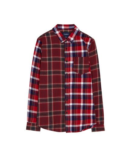 Langarm-Hemd mit Patchwork