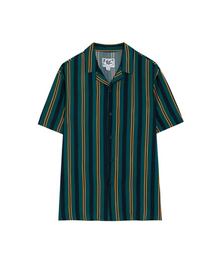 Green striped short sleeve shirt