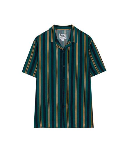 Chemise manches courtes à rayures vertes