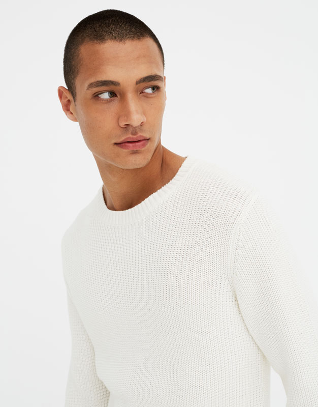 PullAndBear - brioche stitch sweater - off white - 05559507-V2018