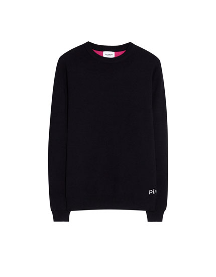 Sweater with contrasting lining