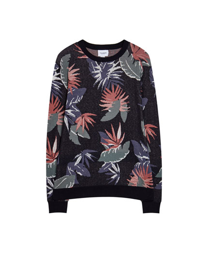 Sweater med blomsterprint