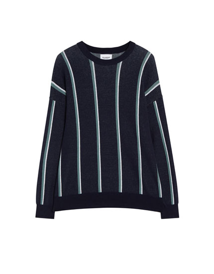 Striped sweater with a round neck