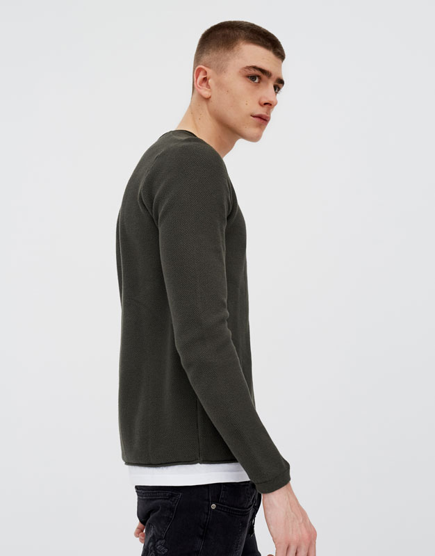 PullAndBear - sweater with interior t-shirt - khaki - 05559520-V2018