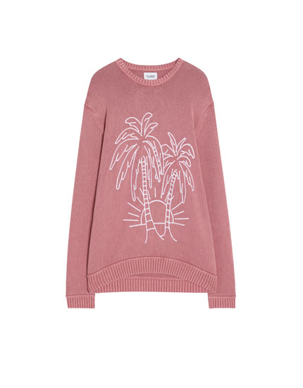 Sweater with embroidered palm trees