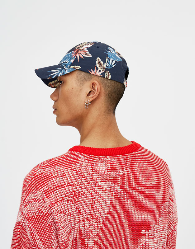 PullAndBear - red sweater with palm tree print - red - 05559530-V2018