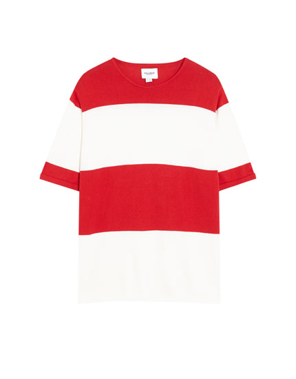 Short sleeve striped sweater