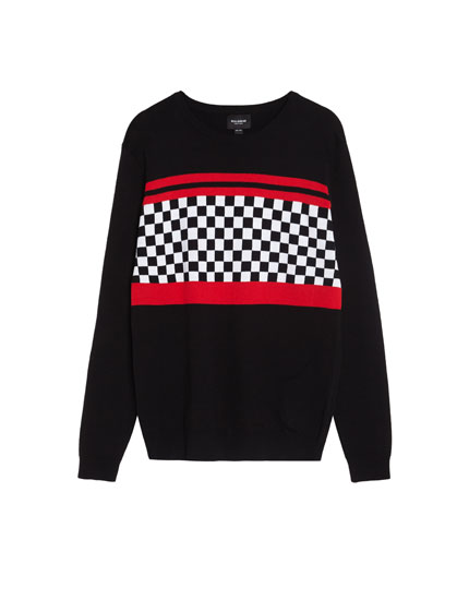Sweater with chequered flag print