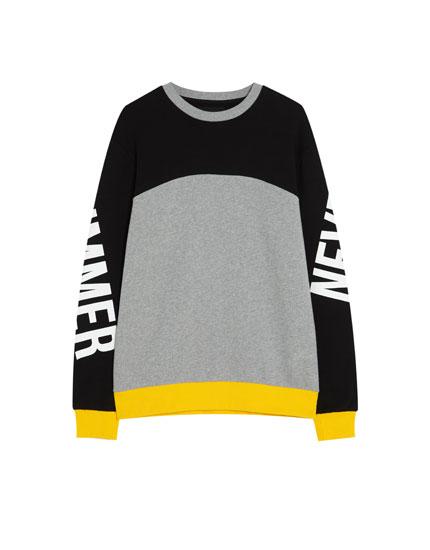 Sweatshirt met contrastpanel