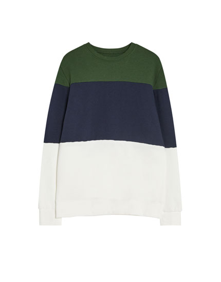 Round neckline colour block sweatshirt