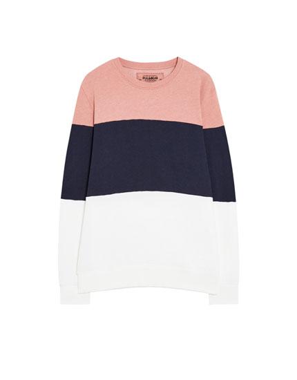 Sweatshirt met panels en ronde hals