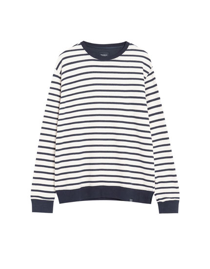 Striped round neck sweatshirt