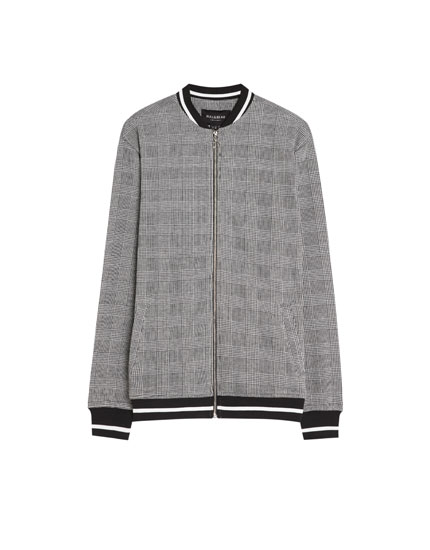 Checked bomber jacket