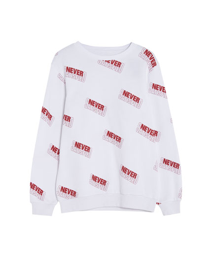 All-over slogan print sweatshirt