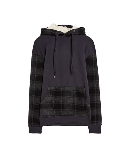 Sweat capuche sherpa carreaux