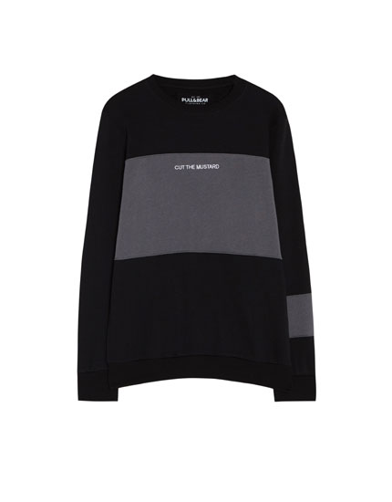 Cotton sweatshirt with panel