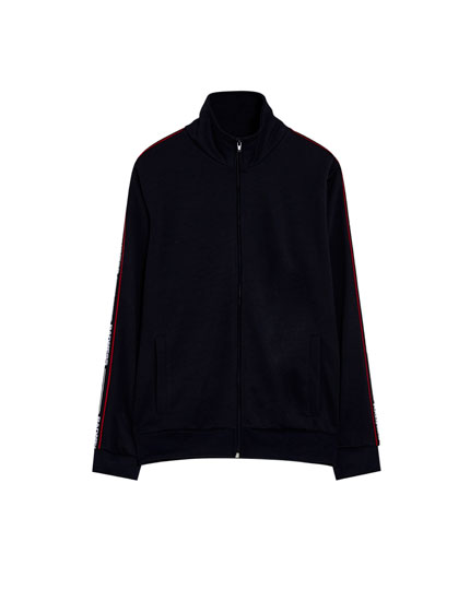 Jogging jacket with side stripes