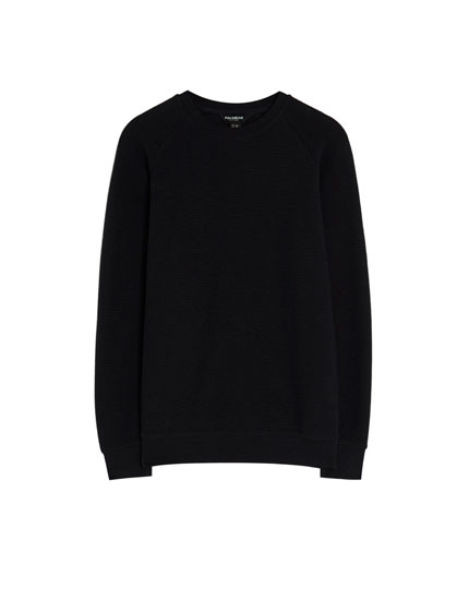 Basic sweatshirt made of ribbed fabric