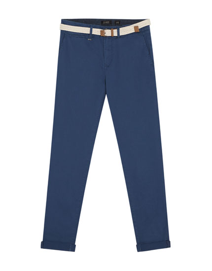 Chino trousers with belt