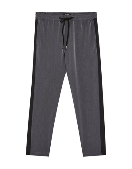 Pantaloni tailored cu benzi laterale