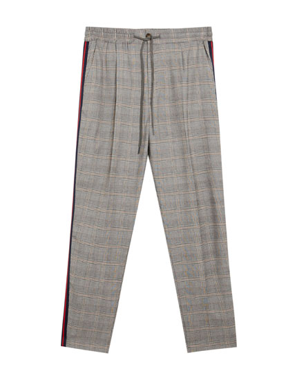 Tailored checked trousers with side stripe detail