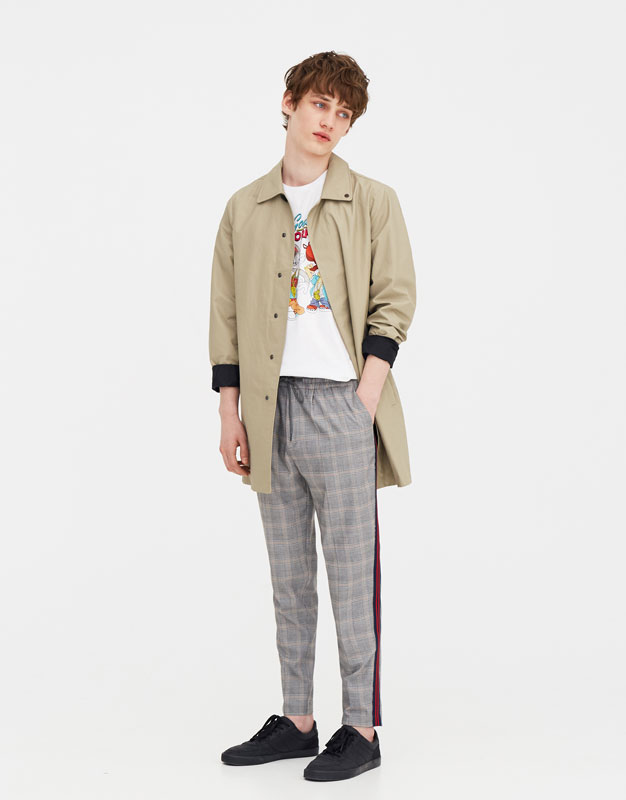 Tailored Checked Trousers With Side Stripe Detail by Pull & Bear