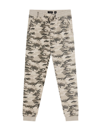 Faded camouflage beach trousers