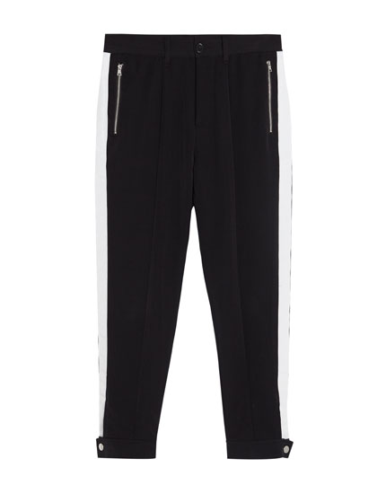 Tailored trousers with side stripes