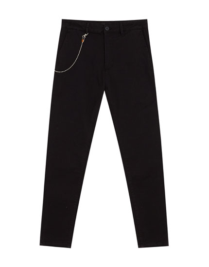 Tailored trousers with chain detail