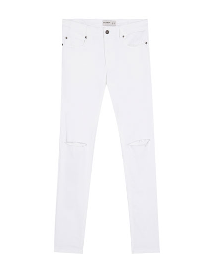 Super skinny fit jeans with knee rips