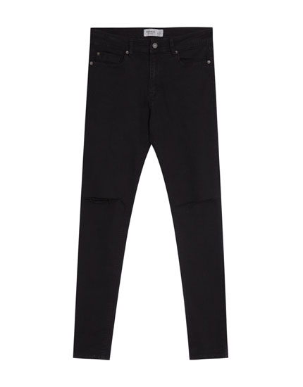 Superskinny fit jeans met scheuren knie